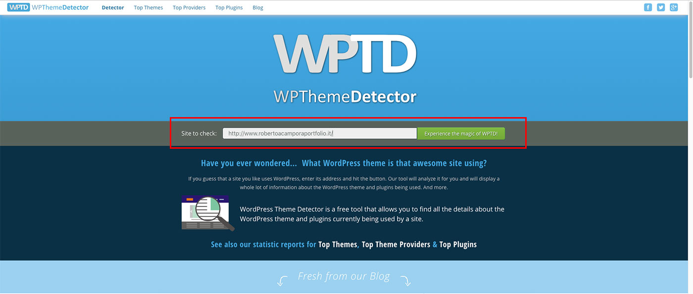 Come scoprire il tema WordPress con Theme Detector