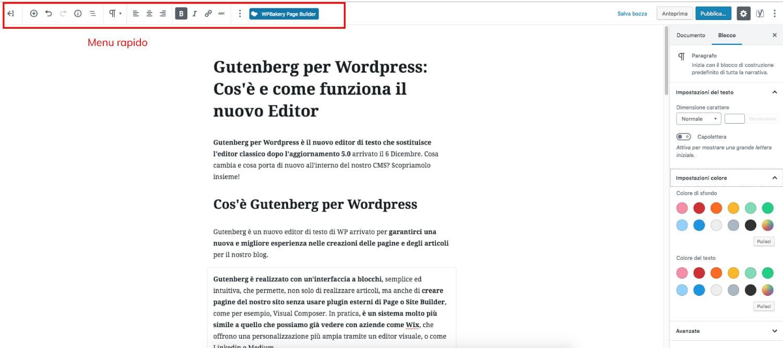Menu Rapido in Gutenberg per WordPress