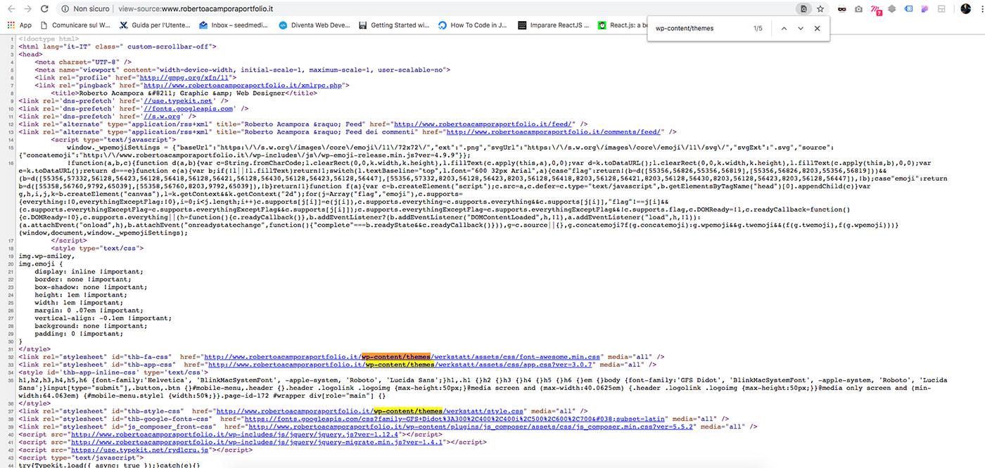 Scoprire il tema utilizzato in un sito WordPress con Sorgente Pagina